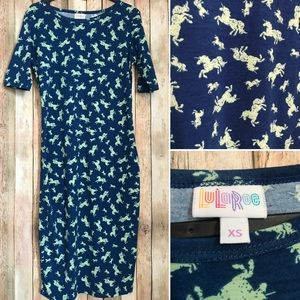 Lularoe XS unicorn Julia Blue Mint GUC Dress